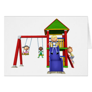 Cartoon Children at a Playground Card