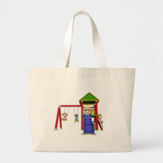 Cartoon Children at a Playground Large Tote Bag