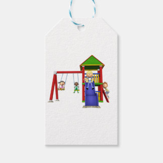Cartoon Children at a Playground Pack Of Gift Tags