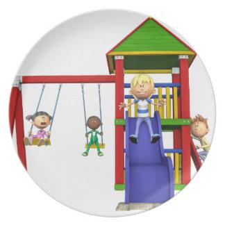 Cartoon Children at a Playground Plate
