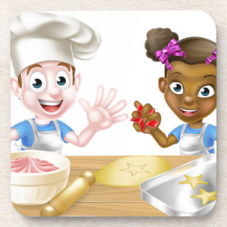 Cartoon Children Bakers Cooking Coaster