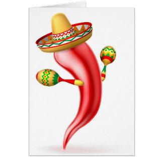 Cartoon Chilli Pepper with Maracas and Sombrero Card