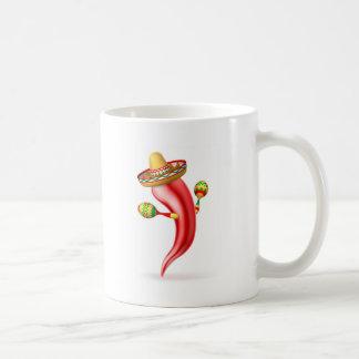 Cartoon Chilli Pepper with Maracas and Sombrero Coffee Mug