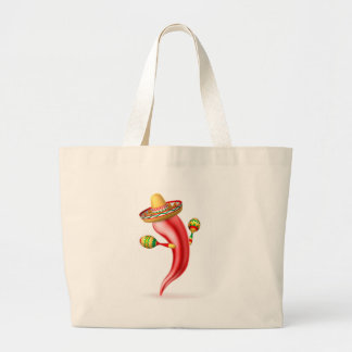 Cartoon Chilli Pepper with Maracas and Sombrero Large Tote Bag