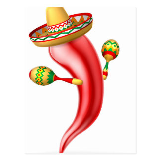 Cartoon Chilli Pepper with Maracas and Sombrero Postcard