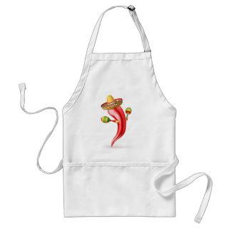 Cartoon Chilli Pepper with Maracas and Sombrero Standard Apron
