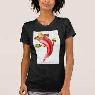 Cartoon Chilli Pepper with Maracas and Sombrero T-Shirt