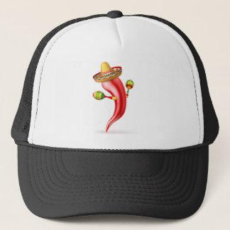 Cartoon Chilli Pepper with Maracas and Sombrero Trucker Hat