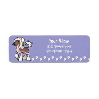Cartoon Chinese Crested (hairless) Return Address Label