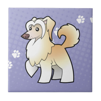 Cartoon Chinese Crested (powderpuff) Tile