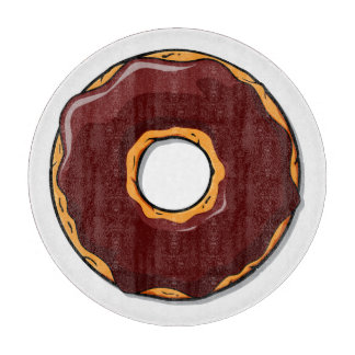 Cartoon Chocolate Donut Design Cutting Board