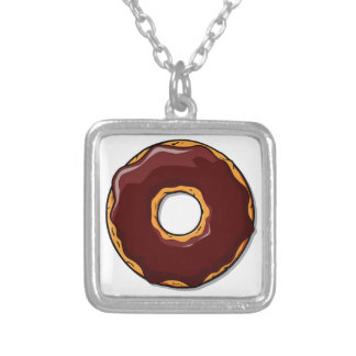 Cartoon Chocolate Donut Design Silver Plated Necklace