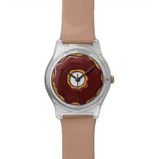 Cartoon Chocolate Donut Design Watch