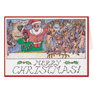 Cartoon Christmas Card- Group Selfie! Card