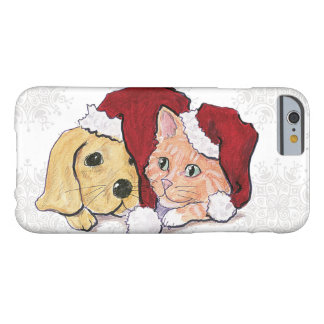 Cartoon Christmas, Cute Puppy Kitten in Santa Hats Barely There iPhone 6 Case