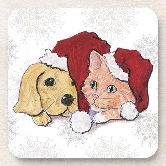 Cartoon Christmas, Cute Puppy Kitten in Santa Hats Beverage Coasters