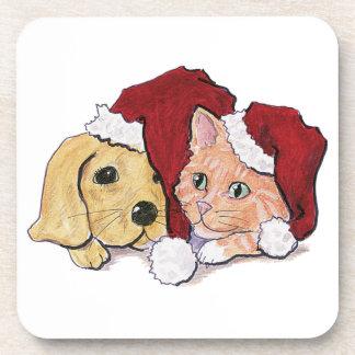 Cartoon Christmas, Cute Puppy Kitten in Santa Hats Coaster