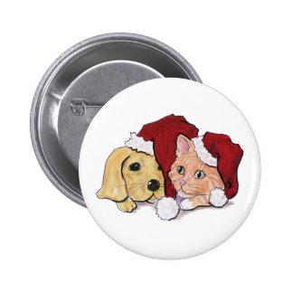 Cartoon Christmas Cute Puppy Kitten Santa Hats Button