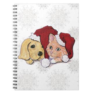 Cartoon Christmas Cute Puppy Kitten Santa Hats Spiral Notebooks