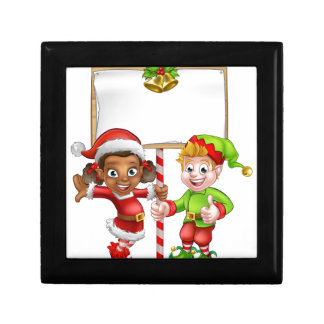 Cartoon Christmas Elves Holding Sign Gift Box