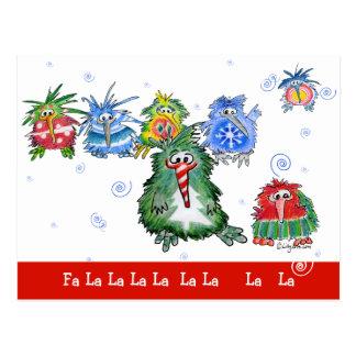 Cartoon Christmas Kiwi Birds Funny Postcard