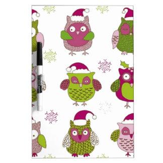 cartoon christmas owl cute vector dry erase boards