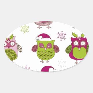cartoon christmas owl cute vector oval sticker