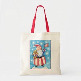 Cartoon Christmas, Patriotic Santa Claus with Flag