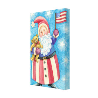 Cartoon Christmas, Patriotic Santa Claus with Flag Stretched Canvas Prints