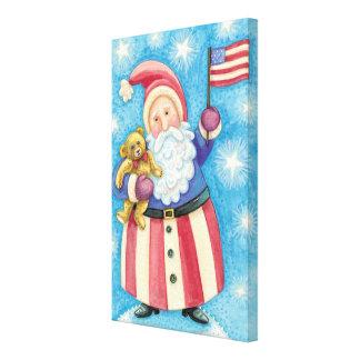 Cartoon Christmas, Patriotic Santa Claus with Flag Canvas Print