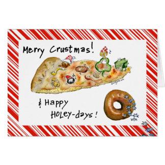 Cartoon Christmas Pizza and Donut Card