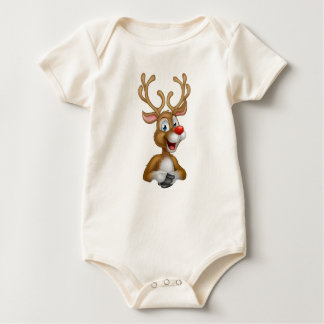 Cartoon Christmas Reindeer Baby Bodysuit