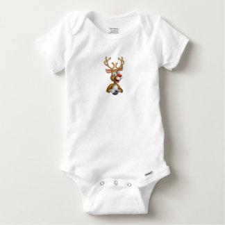 Cartoon Christmas Reindeer Baby Onesie