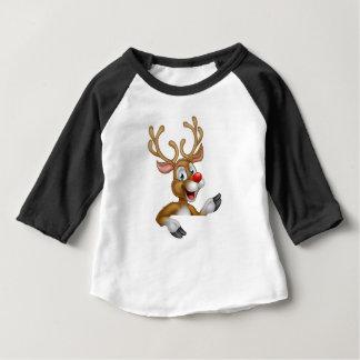 Cartoon Christmas Reindeer Character Baby T-Shirt