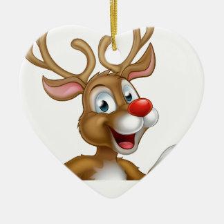 Cartoon Christmas Reindeer Character Ceramic Heart Ornament