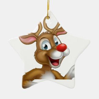 Cartoon Christmas Reindeer Character Ceramic Star Ornament