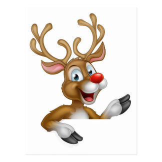 Cartoon Christmas Reindeer Character Postcard
