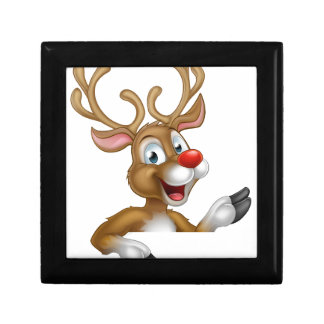 Cartoon Christmas Reindeer Character Trinket Box
