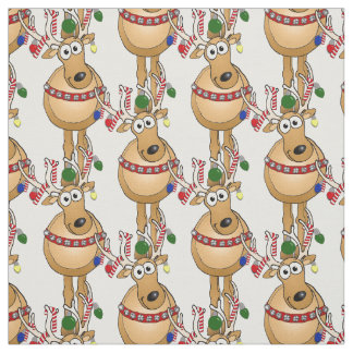 Cartoon Christmas Reindeer pattern on fabric. Fabric