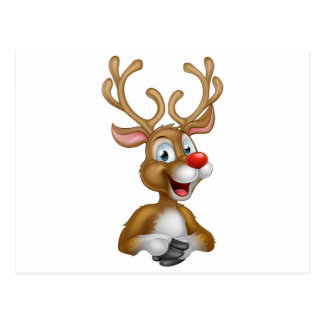 Cartoon Christmas Reindeer Postcard