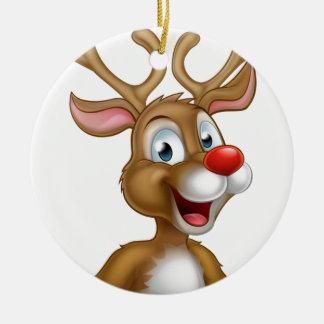 Cartoon Christmas Reindeer Round Ceramic Ornament