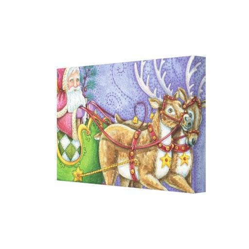 Cartoon Christmas, Santa Claus Sleigh Reindeer Gallery Wrap Canvas