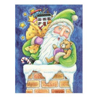 Cartoon Christmas Santa Claus, Toys Chimney Snow Postcard