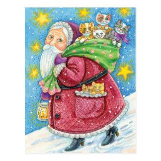 Cartoon Christmas, Santa Claus with Kittens Cats Postcard