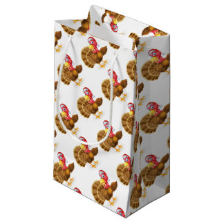 Cartoon Christmas Santa Hat Turkey Bird Pointing Small Gift Bag