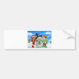 Cartoon Christmas Snowman and Elf Santas Helpers Bumper Sticker
