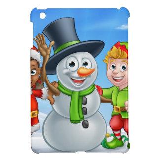 Cartoon Christmas Snowman and Elf Santas Helpers iPad Mini Cover