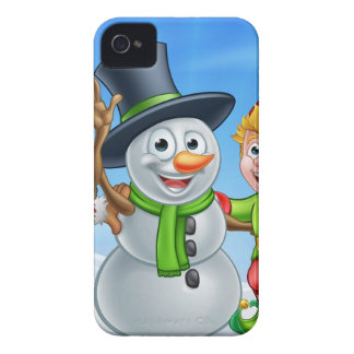 Cartoon Christmas Snowman and Elf Santas Helpers iPhone 4 Case