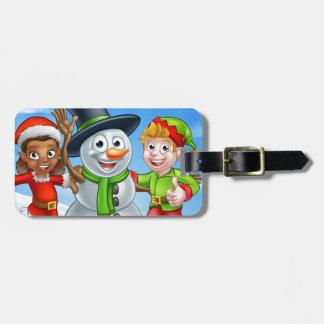 Cartoon Christmas Snowman and Elf Santas Helpers Luggage Tag