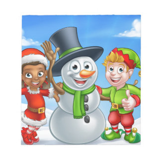 Cartoon Christmas Snowman and Elf Santas Helpers Notepad